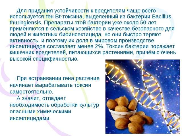 Для придания устойчивости к вредителям чаще всего используется ген Bt-токсина...