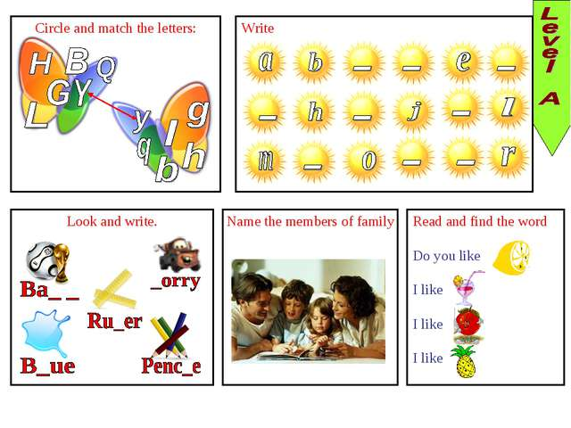 Circle and match the letters: Write Look and write. Name the members of famil...