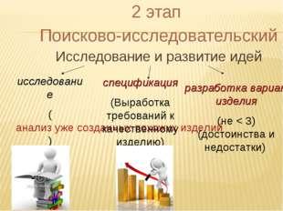 2 этап Поисково-исследовательский Исследование и развитие идей исследование (