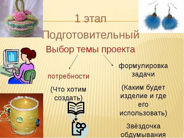 1 этап Подготовительный Выбор темы проекта потребности (Что хотим создать) фо...
