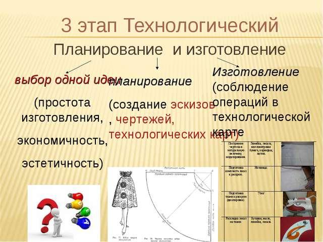 3 этап Технологический Планирование и изготовление выбор одной идеи (простота...