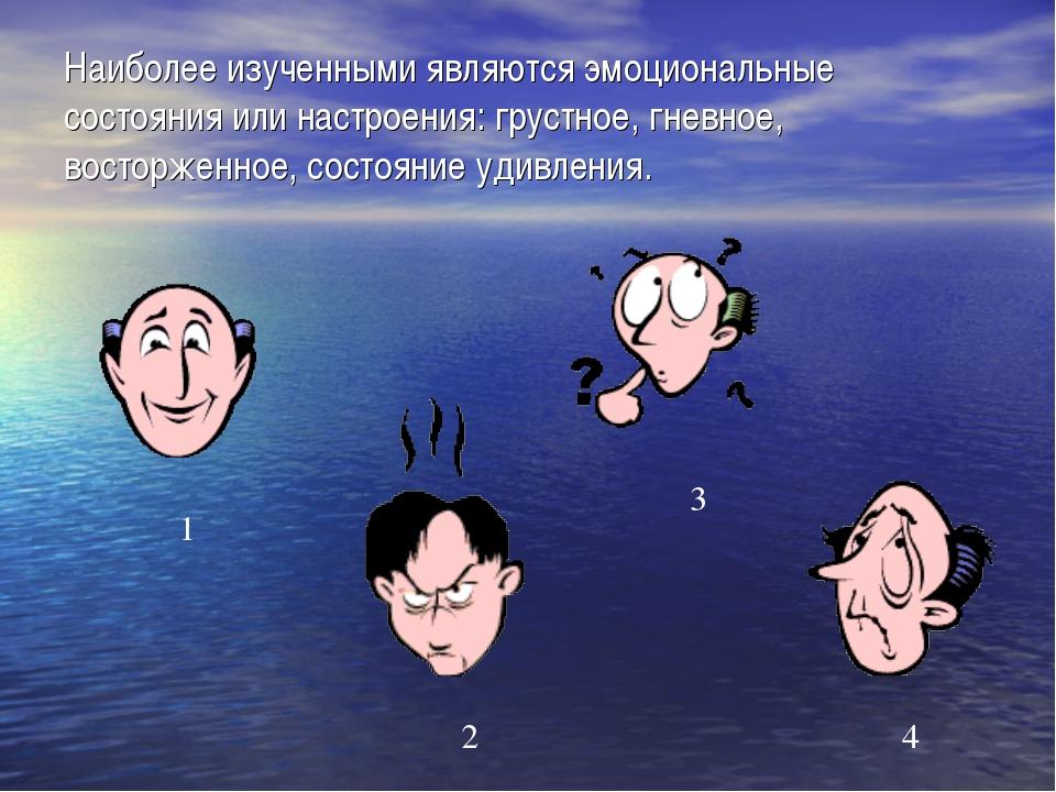 Наиболее изученными являются эмоциональные состояния или настроения: грустное...