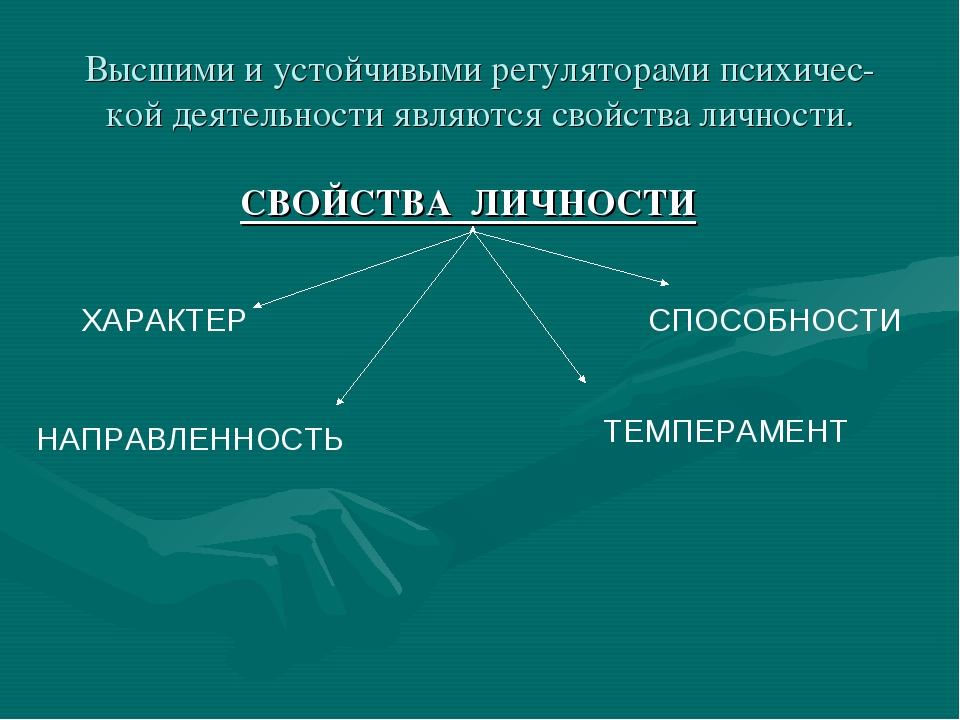 Высшими и устойчивыми регуляторами психичес- кой деятельности являются свойст...