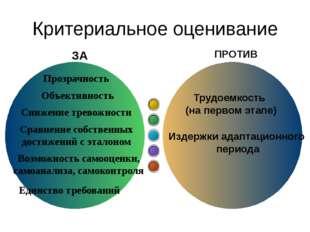 Критериальное оценивание Трудоемкость (на первом этапе) Издержки адаптационн