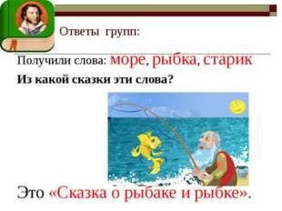 Ответы групп: Получили слова: море, рыбка, старик Из какой сказки эти слова?