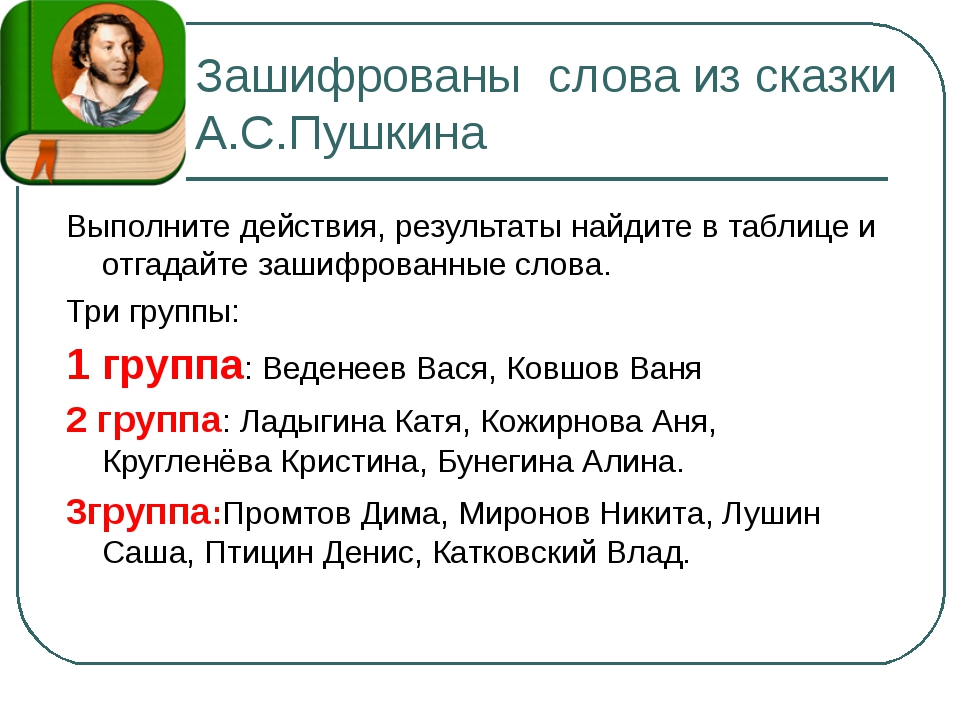 Зашифрованы слова из сказки А.С.Пушкина Выполните действия, результаты найдит...