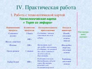 IV. Практическая работа 1. Работа с технологической картой Технологическая ка