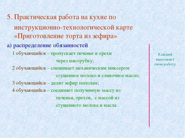 5. Практическая работа на кухне по инструкционно-технологической карте «Приго...