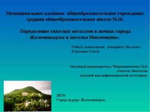 Научный руководитель: Мирошниченко Н.К. учитель биологии высшей квалификацио