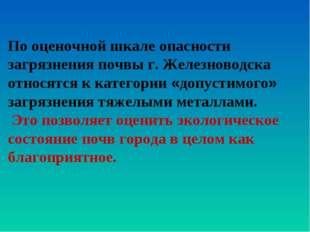 По оценочной шкале опасности загрязнения почвы г. Железноводска относятся к к
