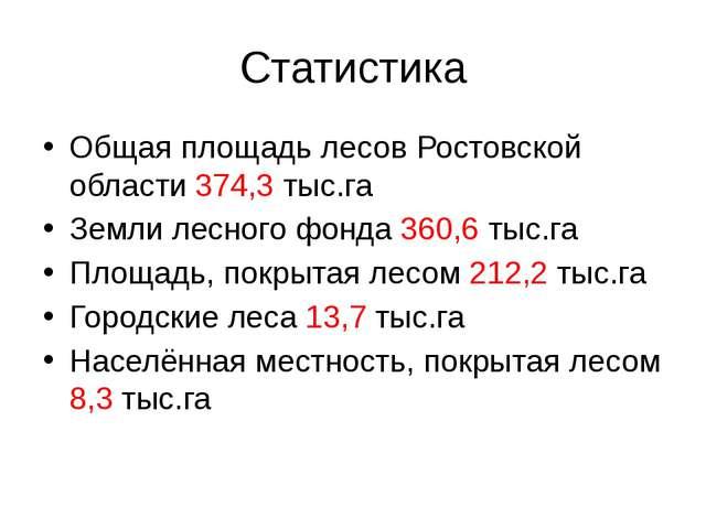 Статистика Общая площадь лесов Ростовской области 374,3 тыс.га Земли лесного...