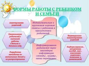Индивидуальные и групповые игровые сеансы с ребенком в присутствии родителей