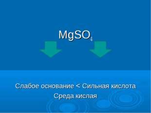 MgSO4 Слабое основание < Сильная кислота Среда кислая