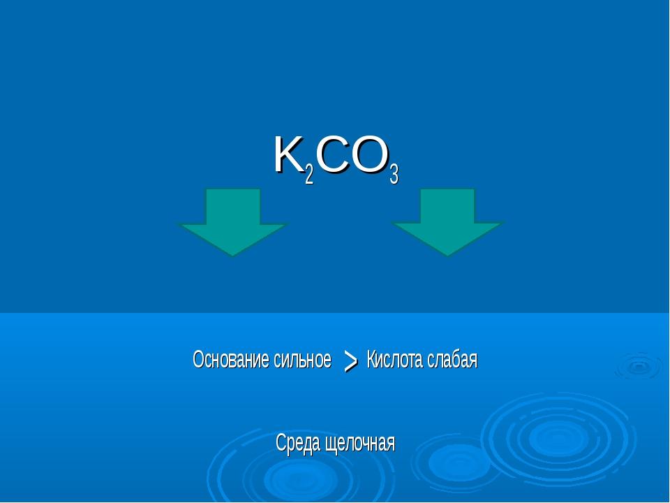 K2CO3 Основание сильное > Кислота слабая Среда щелочная
