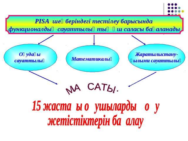 Оқудағы сауаттылық Жаратылыстану- ғылыми сауаттылық Математикалық PISA шеңбер...