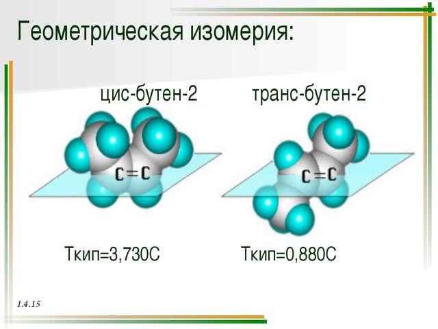 Геометрическая изомерия: Cl Cl цис-1хлорбутадиен-1,3 транс-1хлорбутадиен-1,3