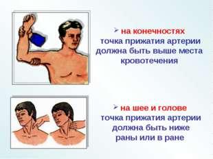 на шее и голове точка прижатия артерии должна быть ниже раны или в ране на к