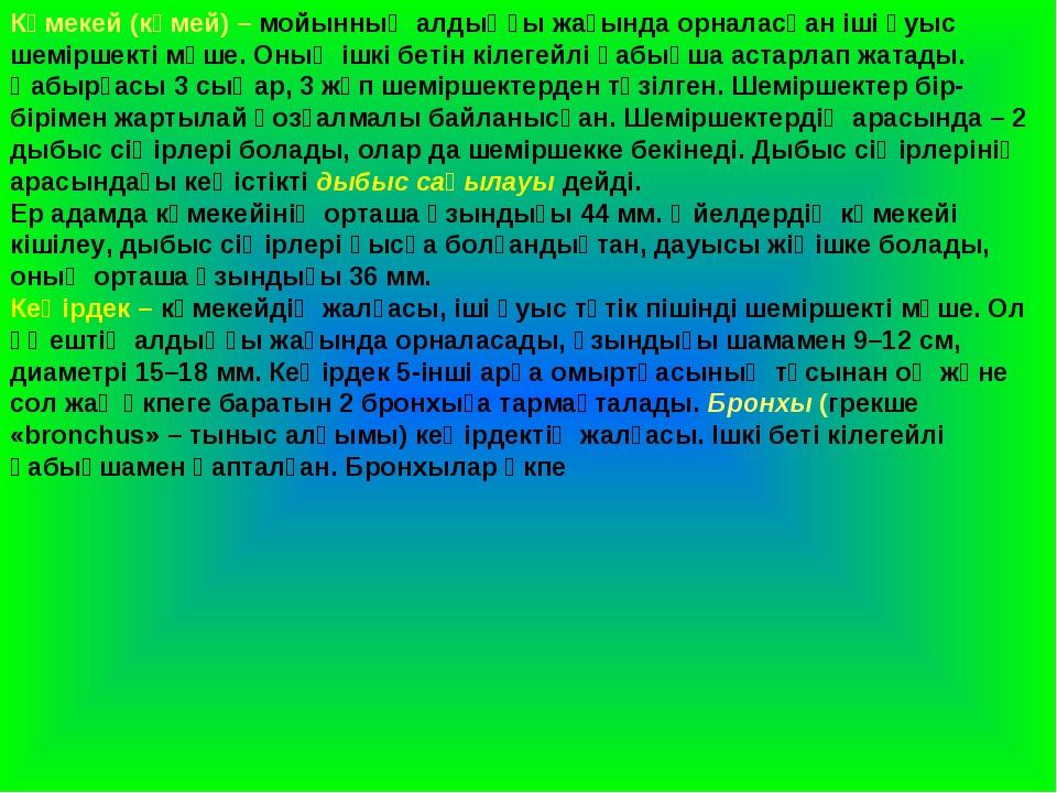 Көмекей (көмей) – мойынның алдыңғы жағында орналасқан іші қуыс шеміршекті мүш...