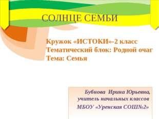 Бубнова Ирина Юрьевна, учитель начальных классов МБОУ «Уренская СОШ№2» СОЛНЦЕ