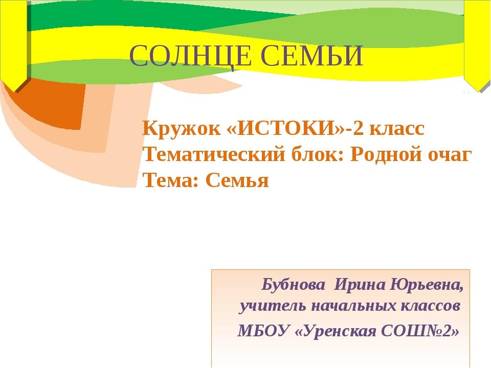 Бубнова Ирина Юрьевна, учитель начальных классов МБОУ «Уренская СОШ№2» СОЛНЦЕ...