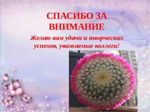 СПАСИБО ЗА ВНИМАНИЕ Желаю вам удачи и творческих успехов, уважаемые коллеги!