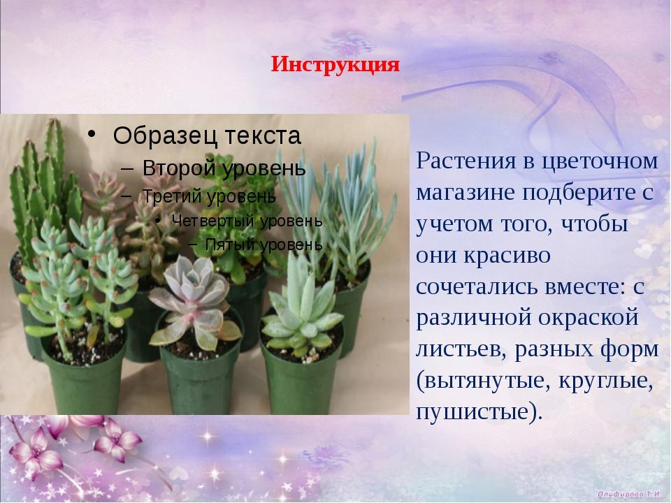 Инструкция Растения в цветочном магазине подберите с учетом того, чтобы они...