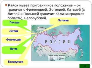 Район имеет приграничное положение – он граничит с Финляндией, Эстонией, Латв