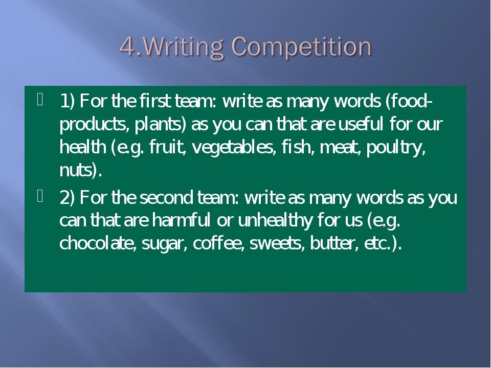 1) For the first team: write as many words (food- products, plants) as you ca...