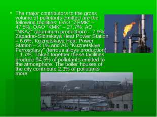 The major contributors to the gross volume of pollutants emitted are the foll