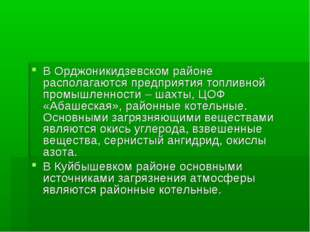 В Орджоникидзевском районе располагаются предприятия топливной промышленности