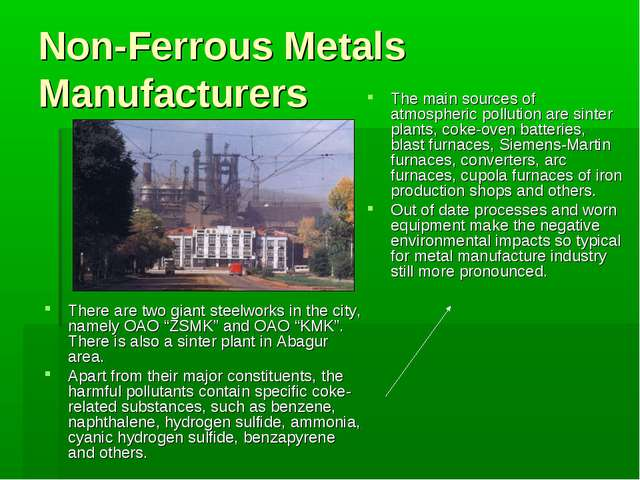 Non-Ferrous Metals Manufacturers There are two giant steelworks in the city,...