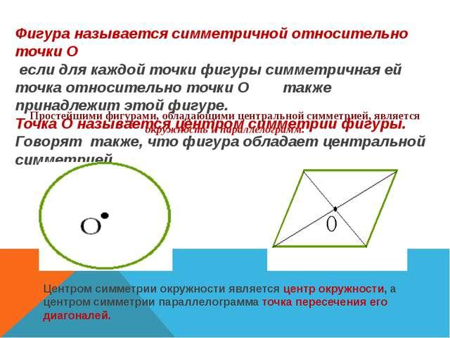 Фигура называется симметричной относительно точки О если для каждой точки фиг...