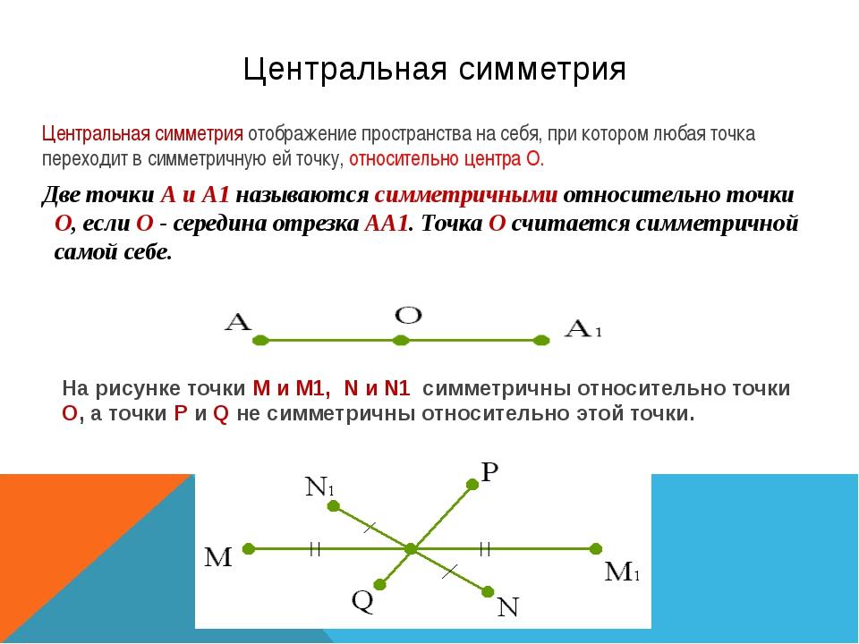 Центральная симметрия  Две точки А и А1 называются симметричными относительн...