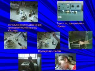 Используемое оборудование для проведения опытов на среду Кесслера. Термостат,