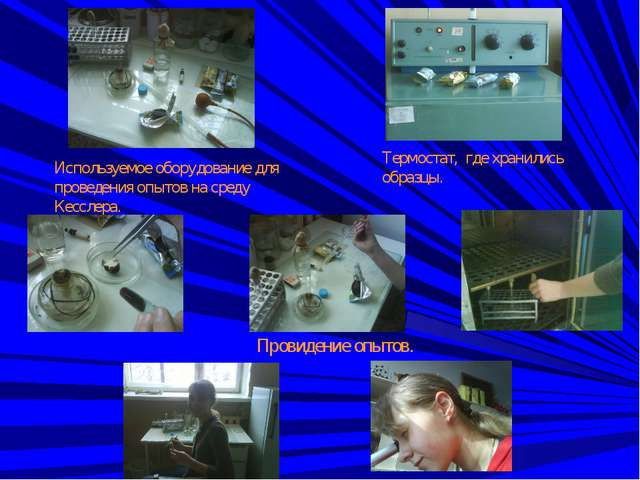 Используемое оборудование для проведения опытов на среду Кесслера. Термостат,...
