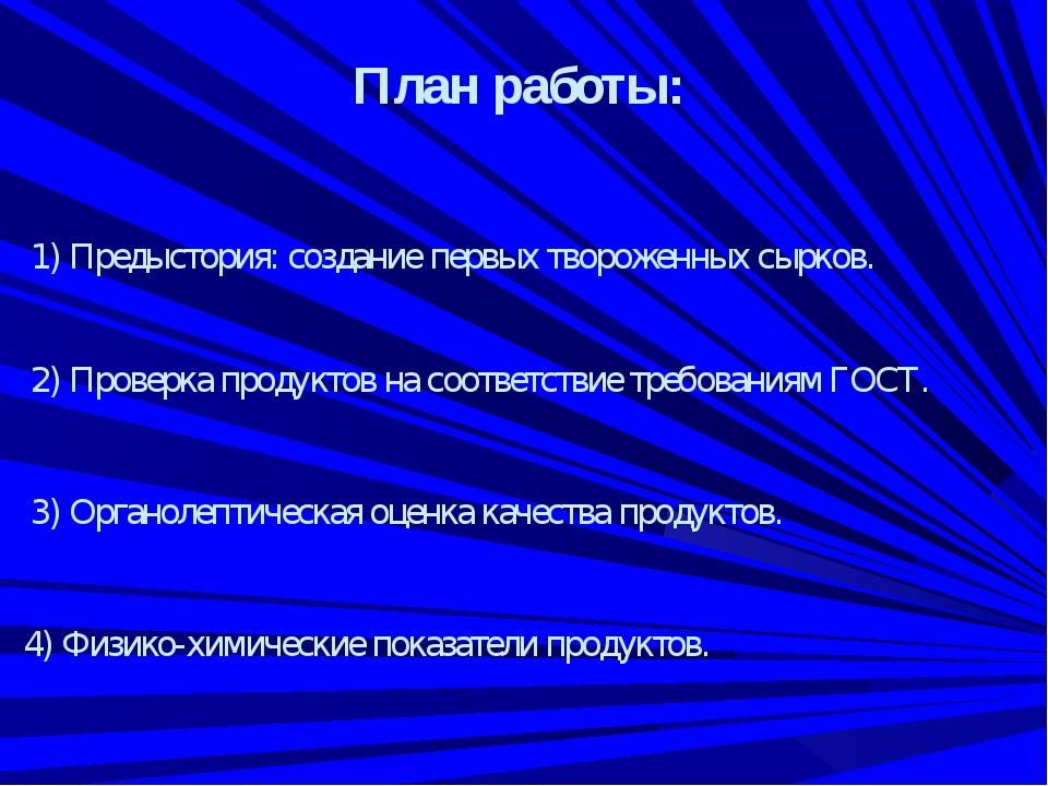 План работы: 1) Предыстория: создание первых твороженных сырков. 2) Проверка...