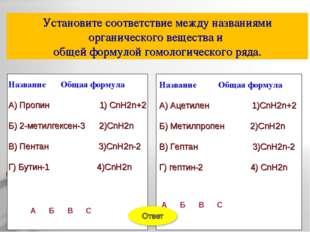 Установите соответствие между названиями органического вещества и общей форму