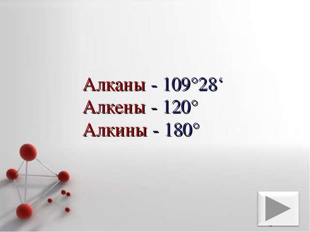 Алканы - 109°28' Алкены - 120° Алкины - 180° Powerpoint Templates Page *