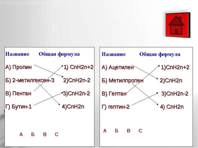 Название Общая формула А) Пропин 1) СnH2n+2 Б) 2-метилгексен-3 2)CnH2n-2 В)...