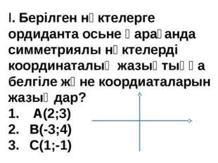 I.Берілген нүктелерге ордиданта осьне қарағанда симметриялы нүктелерді коорд
