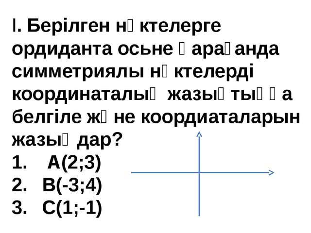 I.Берілген нүктелерге ордиданта осьне қарағанда симметриялы нүктелерді коорд...