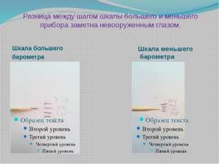 Разница между шагом шкалы большего и меньшего прибора заметна невооруженным г