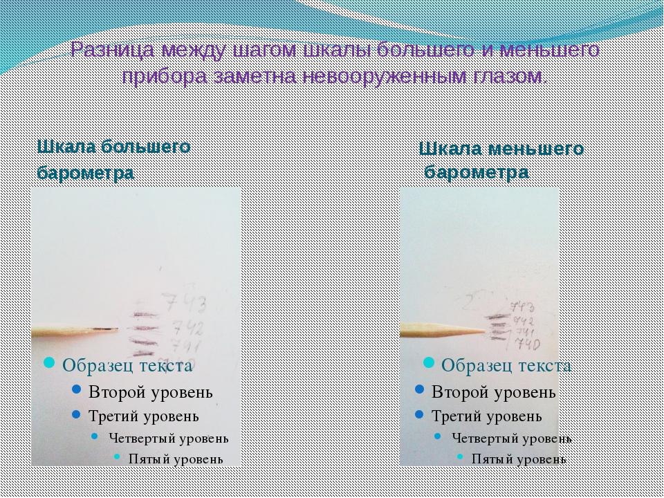 Разница между шагом шкалы большего и меньшего прибора заметна невооруженным г...