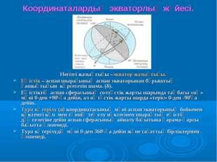 Координаталардың экваторлық жүйесі. Негізгі жазықтығы –экватор жазықтығы. Еңі