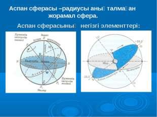 Аспан сферасының негізгі элементтері: Аспан сферасы –радиусы анықталмаған жо