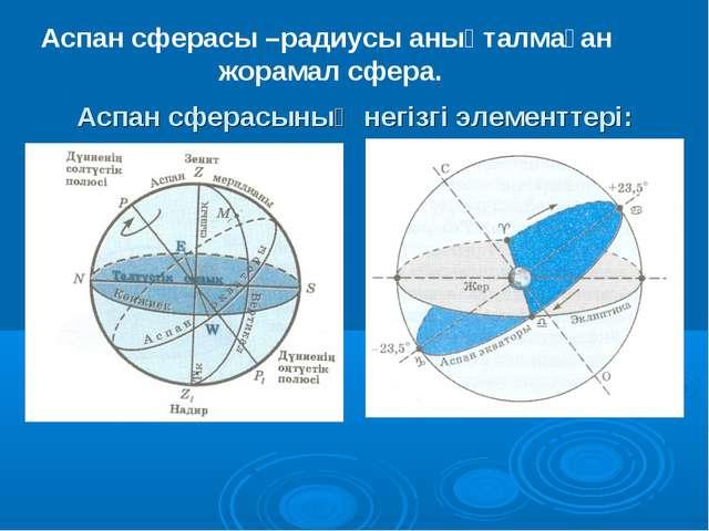 Аспан сферасының негізгі элементтері: Аспан сферасы –радиусы анықталмаған жо...