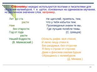 """"""" * Омонимы нередко используются поэтами и писателями для создания каламбуров"""