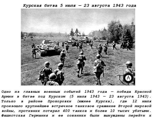 Курская битва5 июля—23 августа 1943 года Одно из главных военных событий 1...