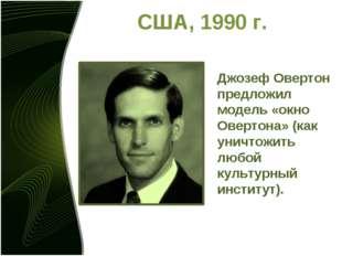 США, 1990 г. Джозеф Овертон предложил модель «окно Овертона» (как уничтожить