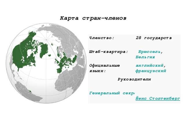 Карта стран-членов Членство:28 государств Штаб-квартира:Брюссель,Бельгия...